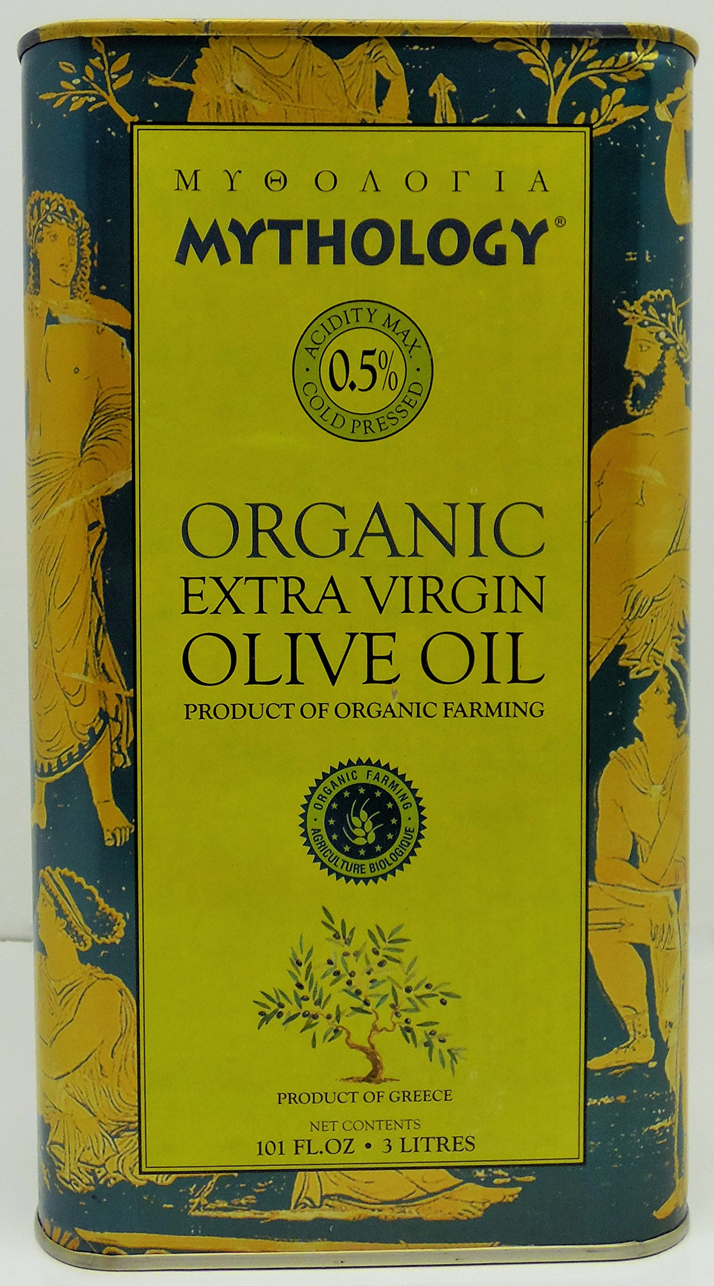 Mythology Organic Extra Virgin Olive Oil 3 Lt 101 Fl Oz Product of Greece