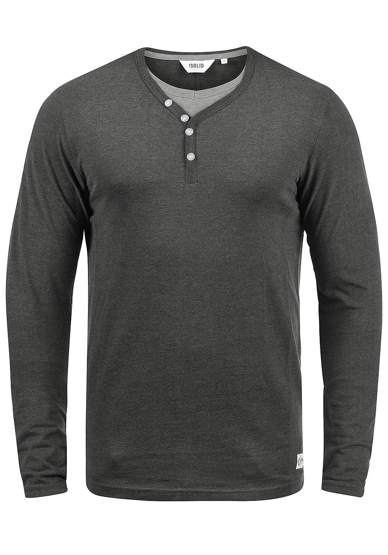 !Solid Doriano Camiseta Básica De Manga Larga Longsleeve para Hombre con Cuello Grandad