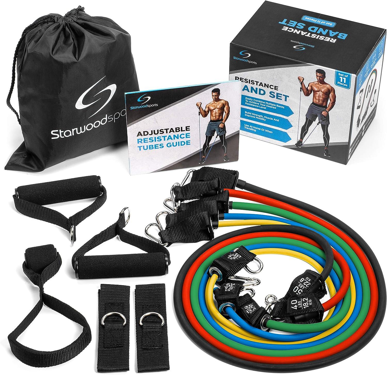 Starwood - Juego de bandas de resistencia deportivas (5 bandas de ejercicio de tubo (hasta 68 kg de resistencia), asas de espuma, correas de tobillo y ...