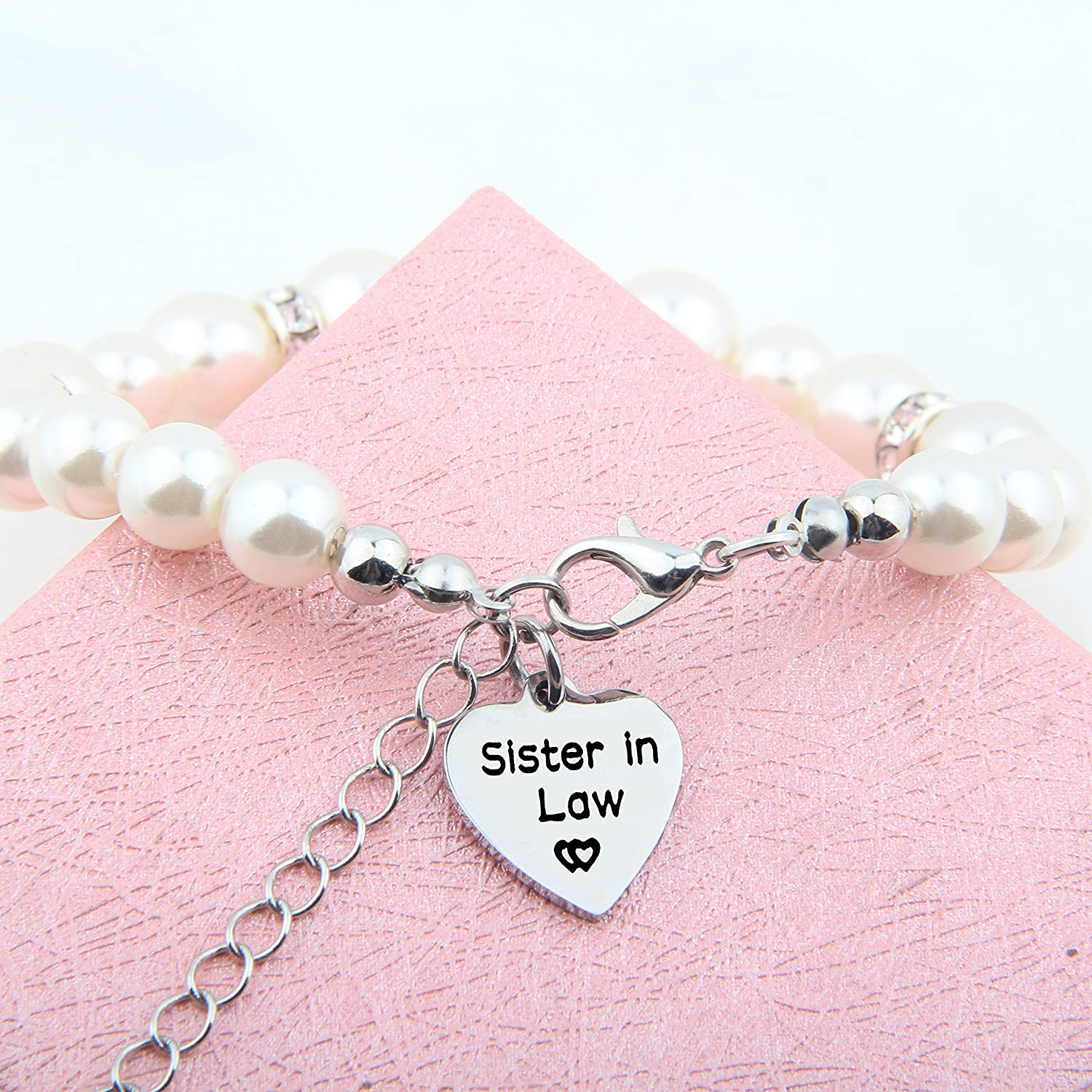 SEIRAA Sister in Law Pearl Bracelet Sister of The Groom Gift Wedding Gift for Sister