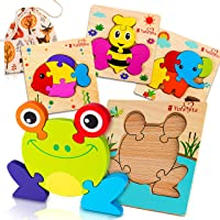 First Play Animal Jigsaw 4 Wooden Puzzles   Chunky Pieces & Board Outline for Toddlers...