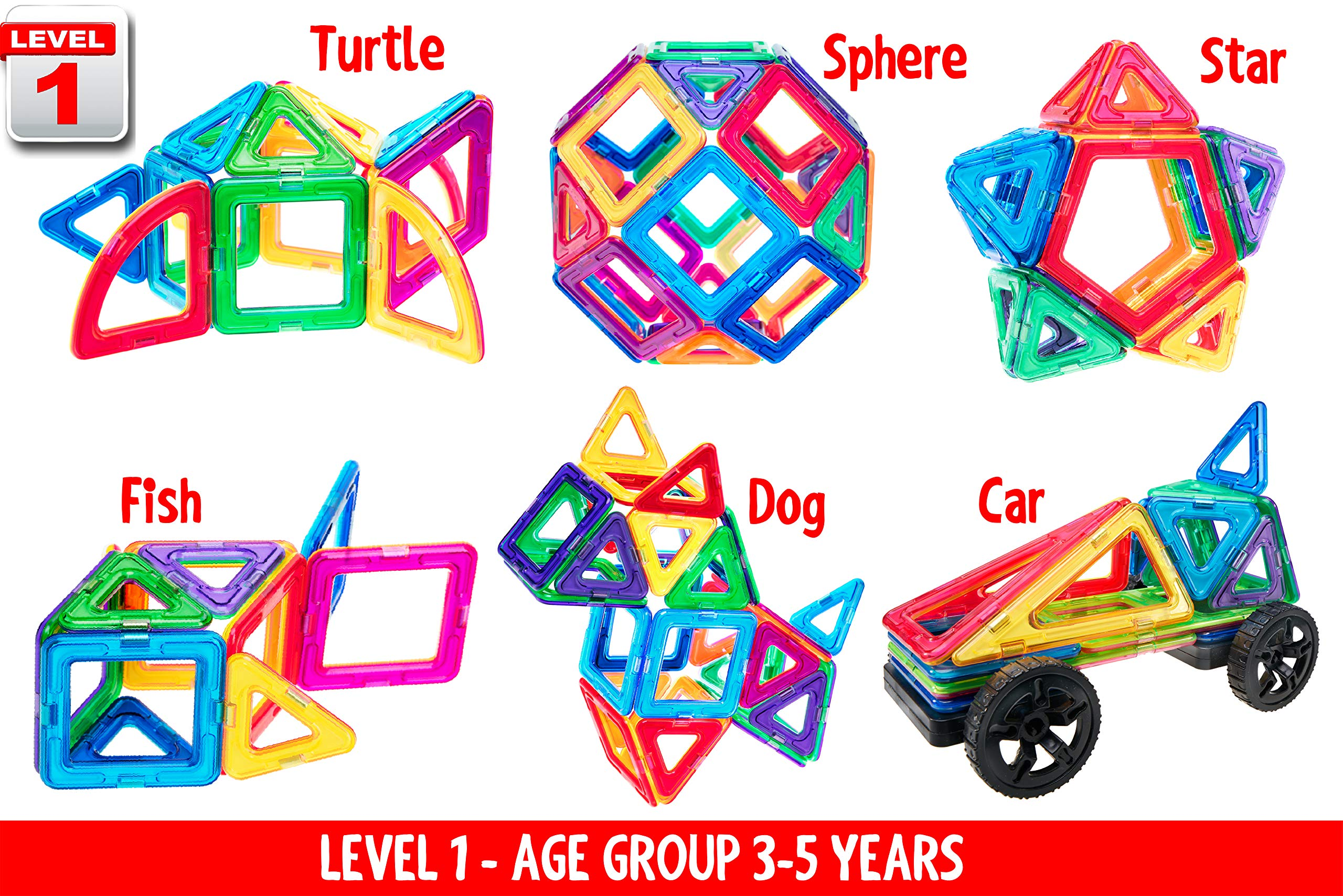 Magnetic Building Blocks for Kids – Creatone Advanced 112 PCS Ultra Strong 3D Set – Creativity, Imagination, Concentration, Hand-to-Eye and Motor Skills Stimulating and Developing Magnet Tiles by Creatone (Image #3)