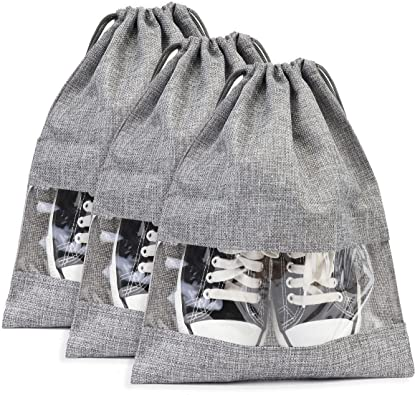 Shoe Bags for Travel with Drawstring and Clear Window, Portable Shoe Pouch and Storage Shoe Bags for Women and Men