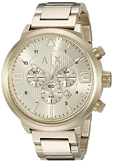 ec070143e4b0 Emporio Armani AX1368 Gold Watch for Men  Armani Exchange  Amazon ...