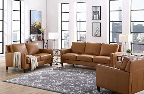 Prime Hydeline Ashby 100 Leather Sofa Set Sofa Loveseat Chair Cognac Pabps2019 Chair Design Images Pabps2019Com