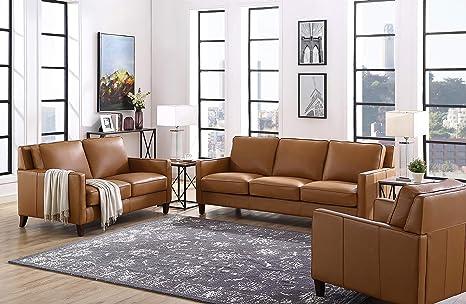 Awe Inspiring Hydeline Ashby 100 Leather Sofa Set Sofa Loveseat Chair Cognac Alphanode Cool Chair Designs And Ideas Alphanodeonline