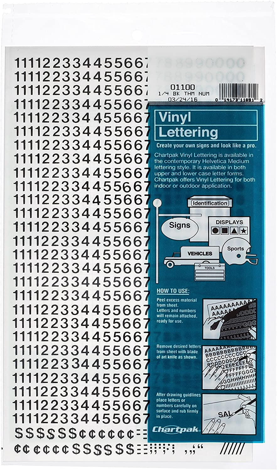 Amazon Com Chartpak Self Adhesive Vinyl Numbers 1 4 Inch High Black 718 Per Pack 01100 Office Products