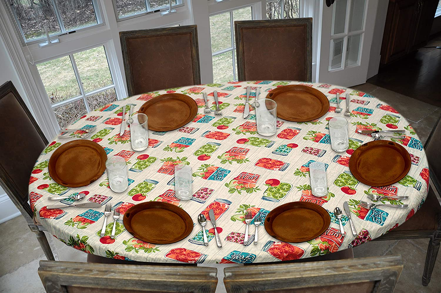 """Covers For The Home Deluxe Elastic Edged Flannel Backed Vinyl Fitted Table Cover - Garden to Table Pattern - Oblong/Oval - Fits Tables up to 48"""" W x 68"""" L"""