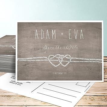 Save The Date Hochzeitskarten Liebesknoten 25 Karten Horizontal