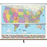 Amazon.com : United States / World Map - Pull Down Roller Map with ...