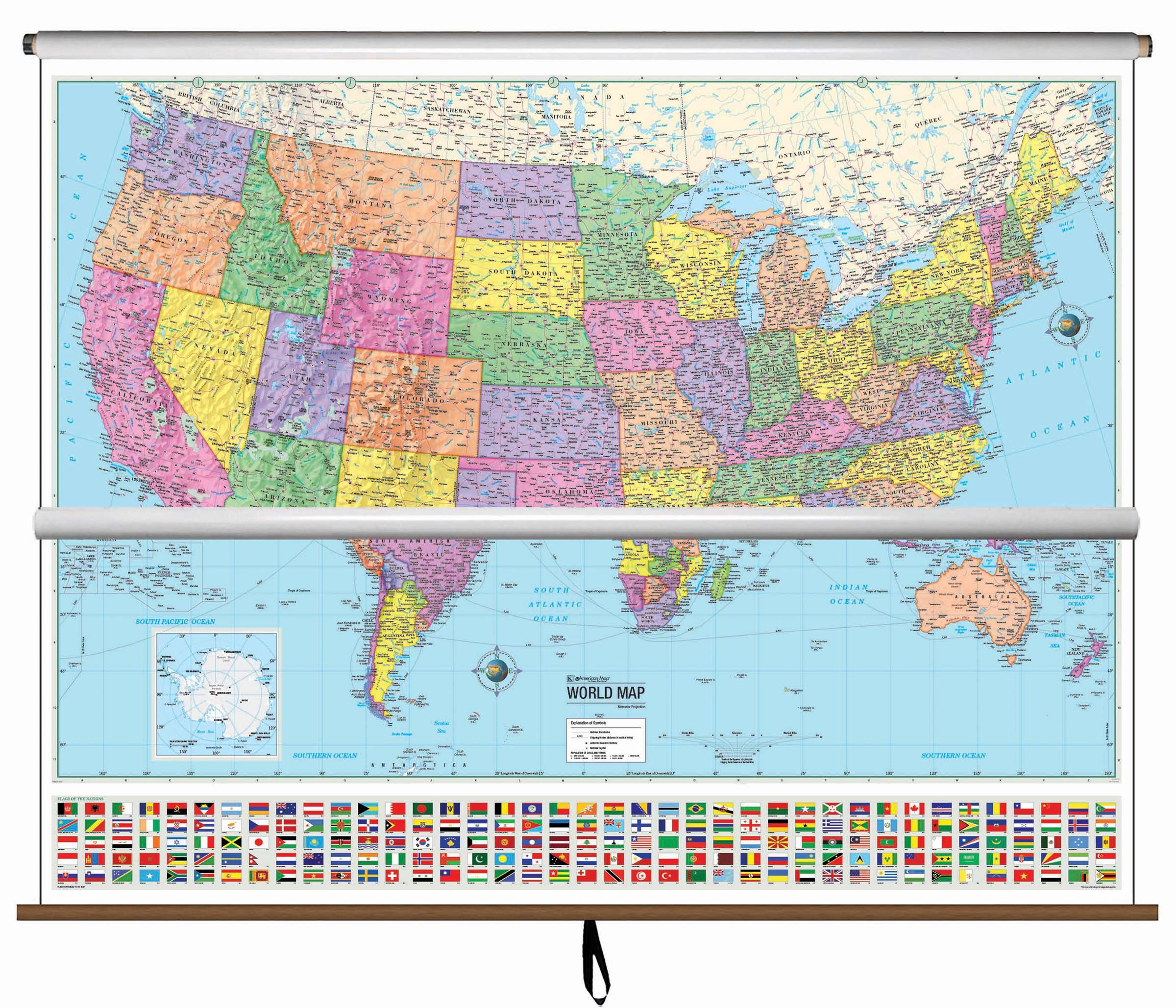 US-World Advanced Political Classroom Combo Wall Map on Roller