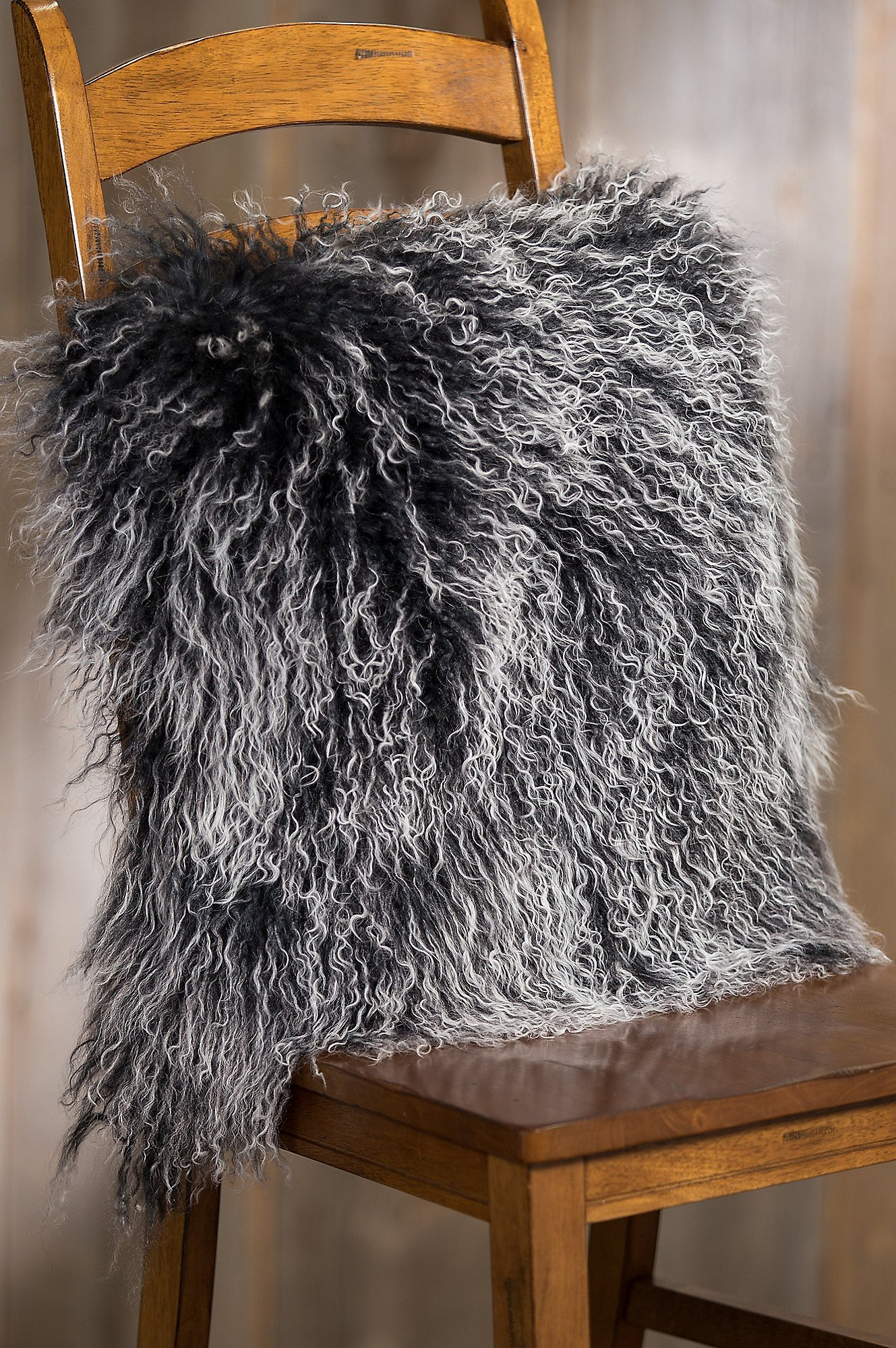 Overland 20'' x 20'' Single-Sided Tibetan Lamb Fur Pillow