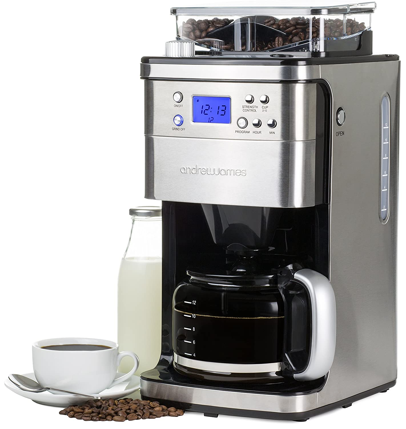 Electronic Test Cases For Coffee Machine andrew james programmable filter coffee machine with integrated bean grinder amazon co uk kitchen home