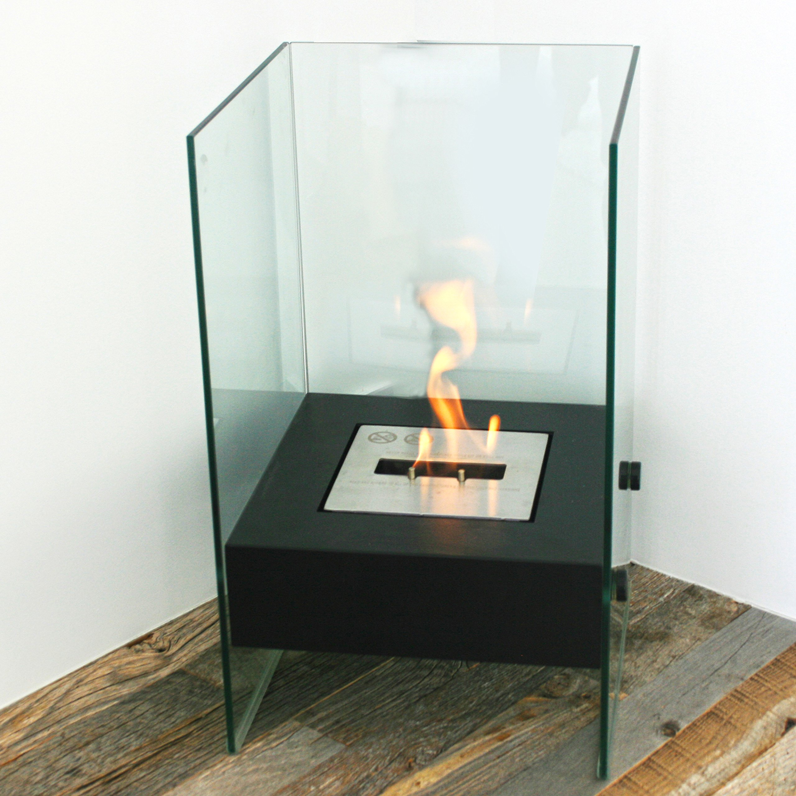 Chic Fireplaces Bismarck Luxury Ventless Black Free Standing Modern Bio-Ethanol Fireplace Stainless Steel Burner Insert by Chic Fireplaces