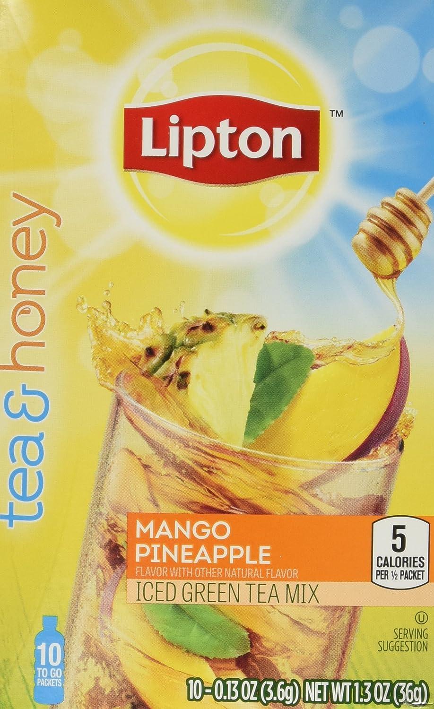 Lipton To Go Stix Iced Green Tea Mix, Tea and Honey, Mango Pineapple, 10-Count (Pack of 4)