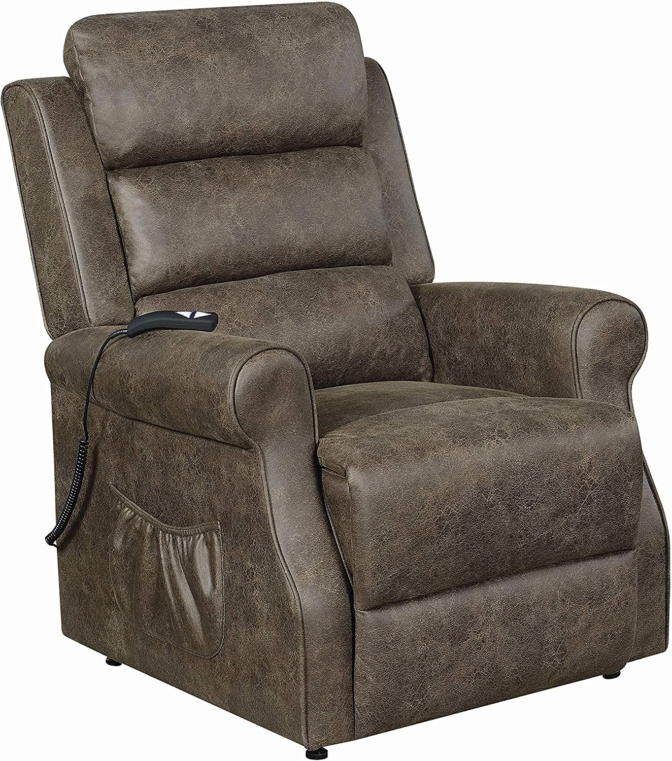 """Coaster Home Furnishings Power Lift Brown Recliner, 37"""" x 39"""""""