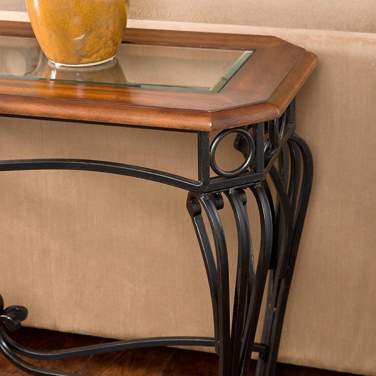 Southern Enterprises Prentice Sofa Console Table, Dark Cherry with Black Finish