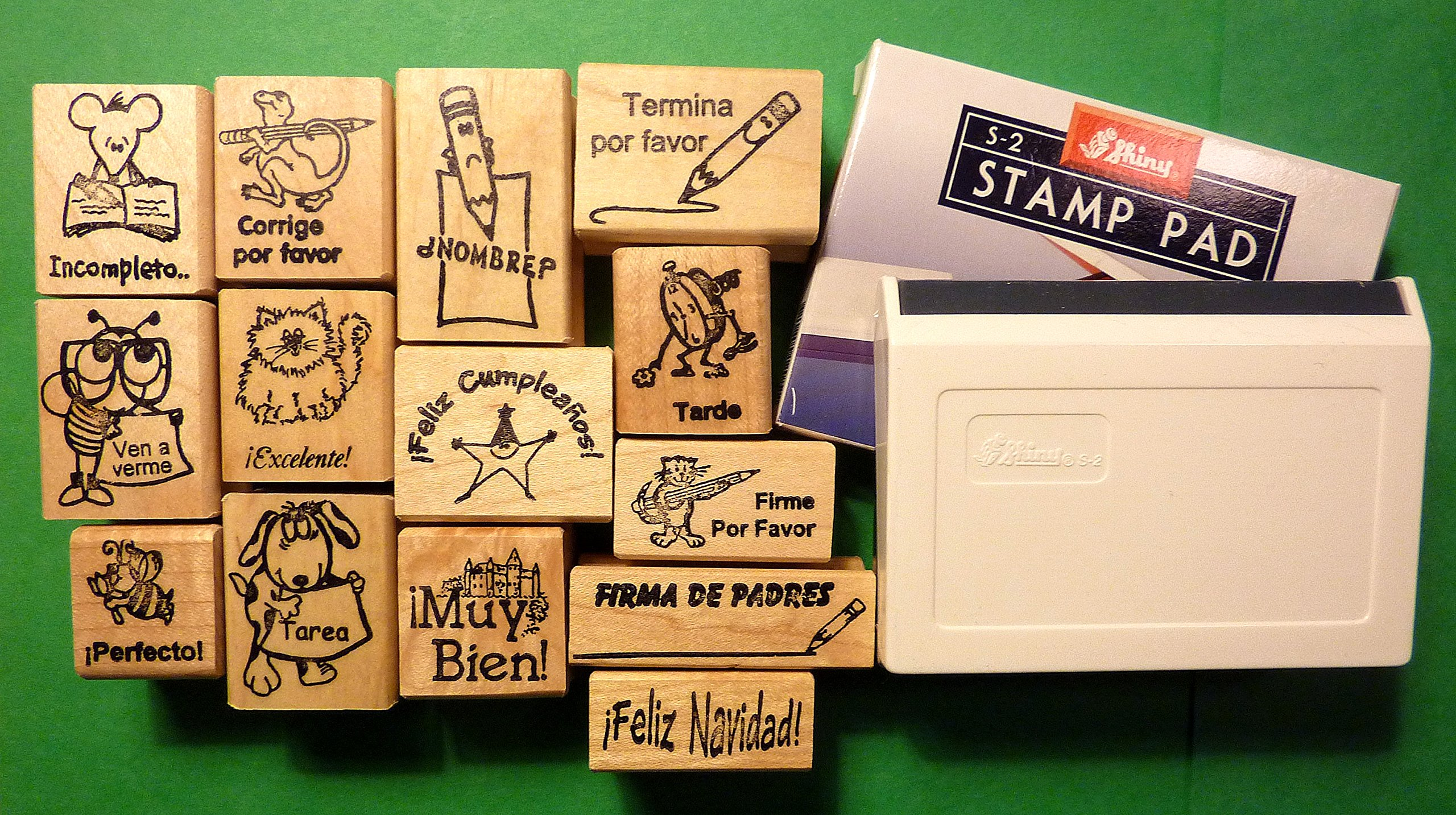 Spanish Only Set of 14 Rubber Stamps, with Stamp Pad