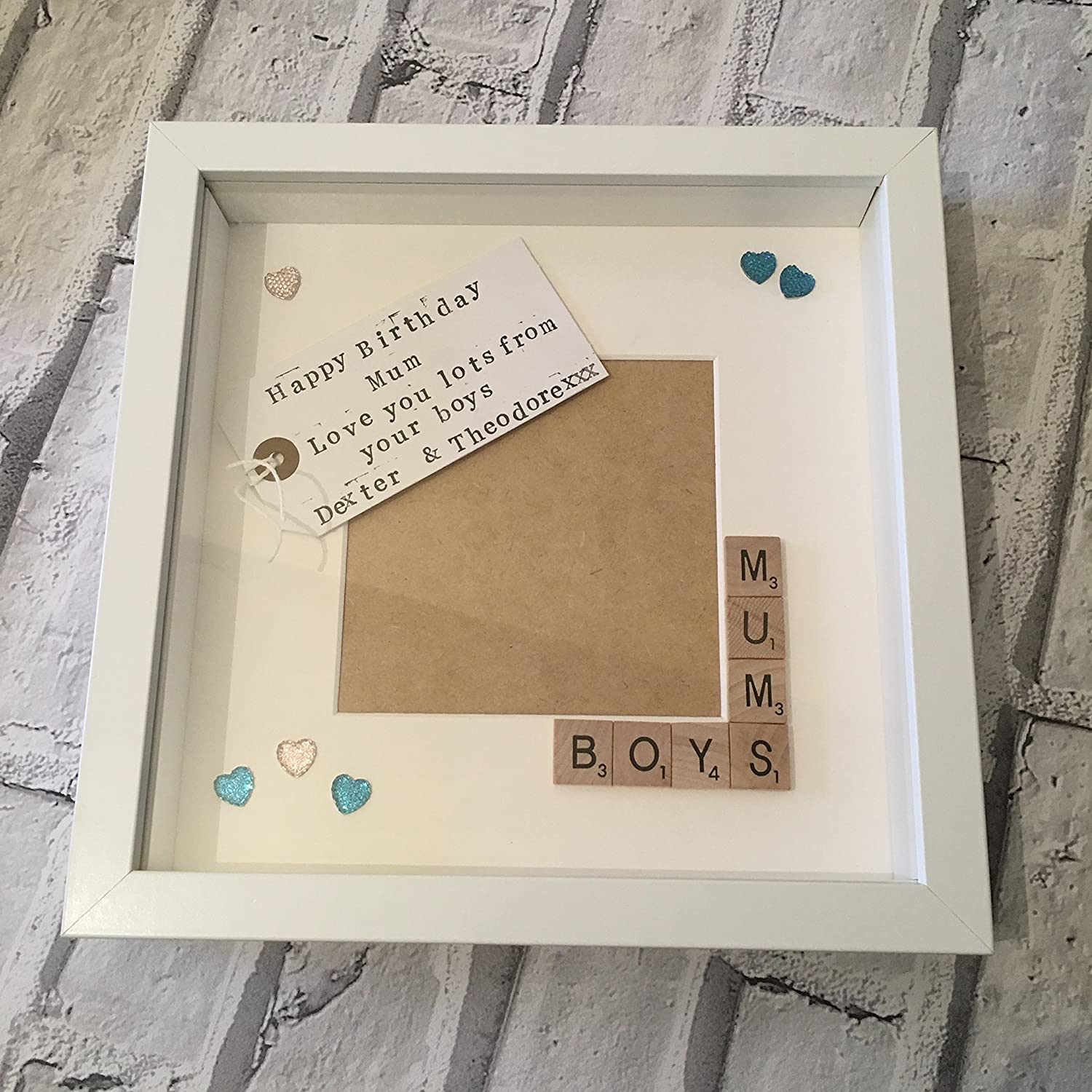 MUM BIRTHDAY GIFT PERSONALISED PICTURE FRAME MOTHER MUMMY MAM SCRABBLE LETTERS