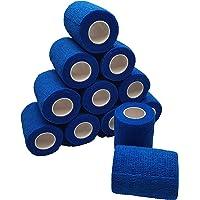 nilo Antiadherente vendas – 12 rollos de 10 cm x 4,5 m, etiqueta vendaje, elástico vendaje (Azul)