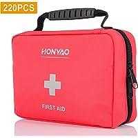 HONYAO Trousse de Premier Secours, Complète First Aid Kit Médicale - Boîte de d'urgence de Survie pour Voiture Maison Bateau Vélo Travail Voyage Montagne Camping Randonnée