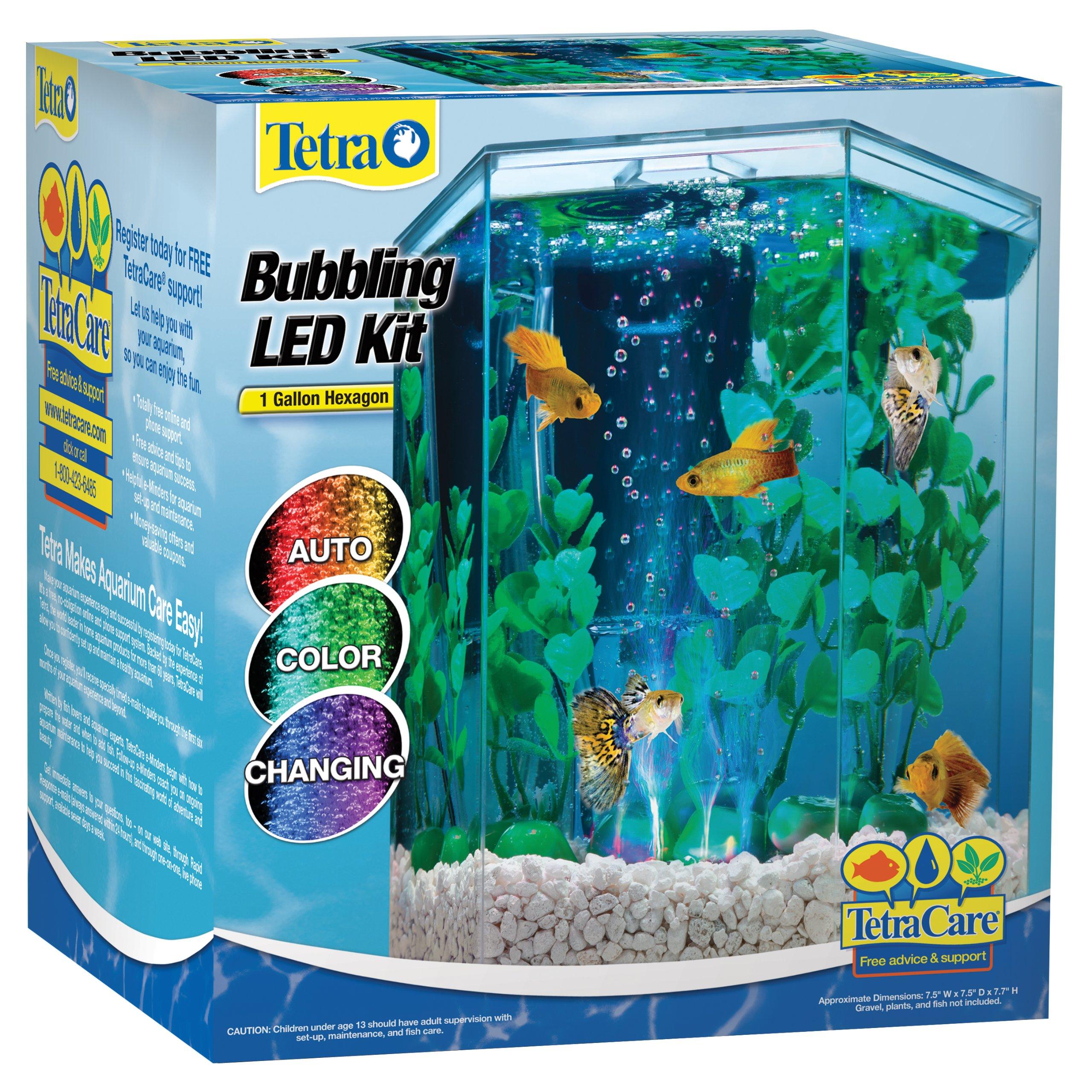 Tetra 29040 Hexagon Aquarium Kit with LED Bubbler, 1-Gallon (Packaging may vary) by Tetra