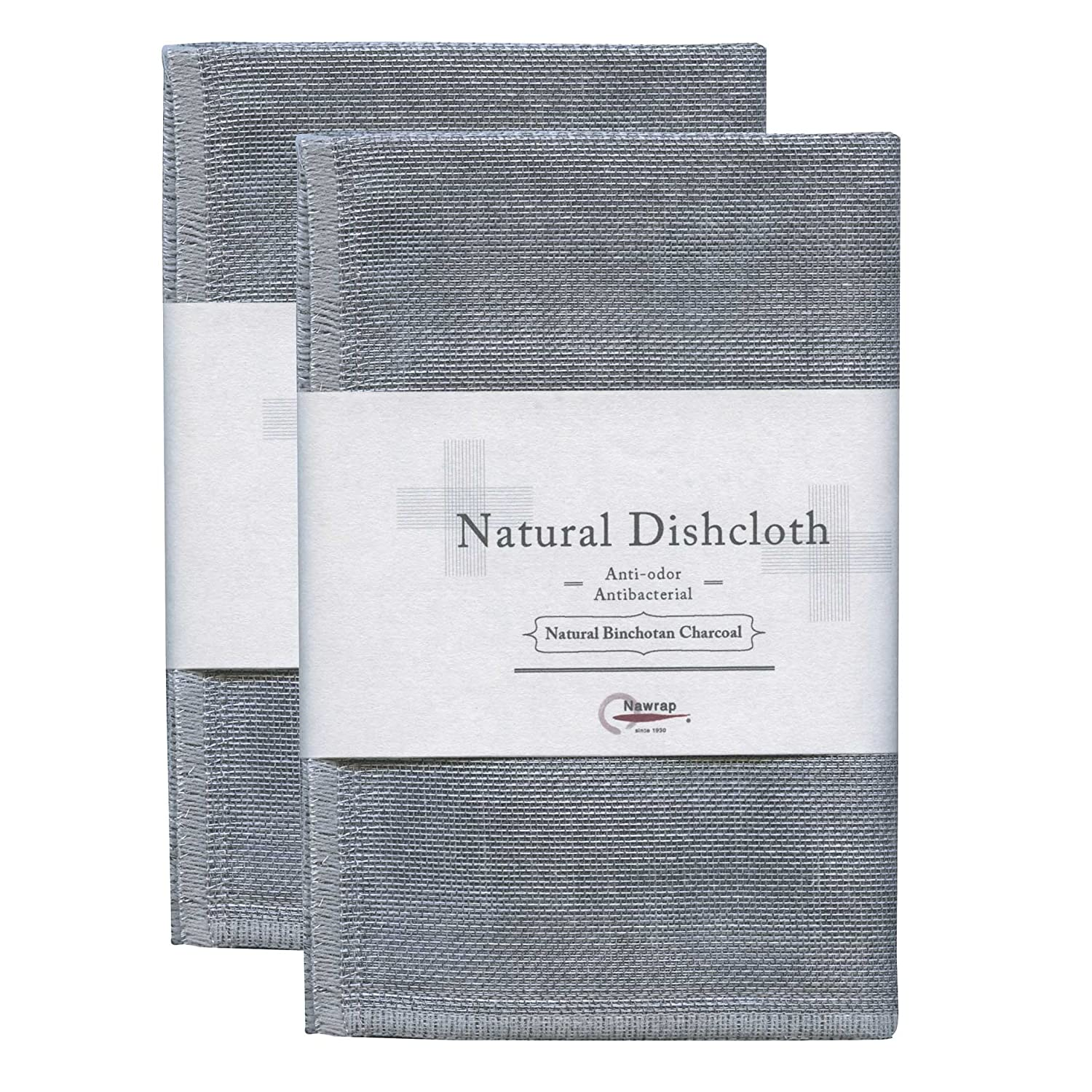 Nawrap Binchotan Dishcloths, Set of 2, Naturally Antibacterial