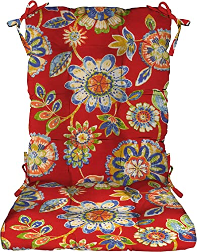 RSH D cor Indoor Outdoor Tufted Rocker Rocking Chair Pad Cushions, Choose Size and Color, Large, Daelyn Cherry