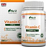 Vitamin C 1000mg 180 Tablets (6 Month's Supply) Ascorbic Acid, Suitable for Vegetarians & Vegans by Nu U Nutrition