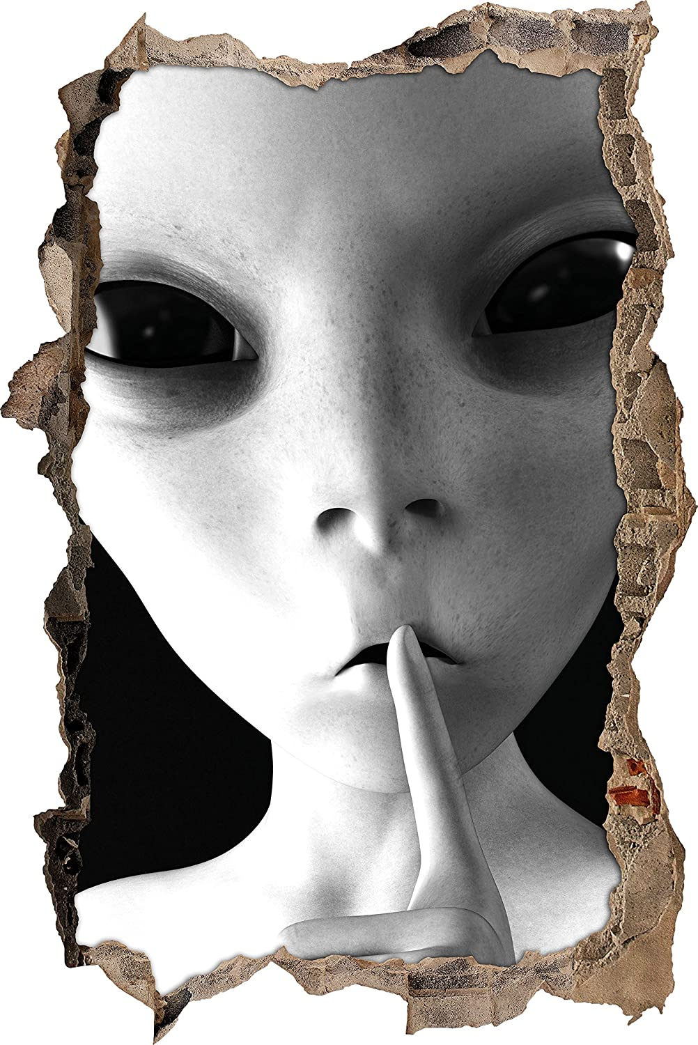 Alien - not talk art B & W Wall breakthrough in 3D look, wall or door sticker format: 62x42cm, wall stickers, wall sticker, wall decoration Stil.Zeit