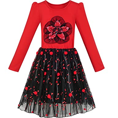 Amazon.com: Sunny Fashion Girls Dress Long Sleeve Cotton Red Flower Christmas Dress: Clothing