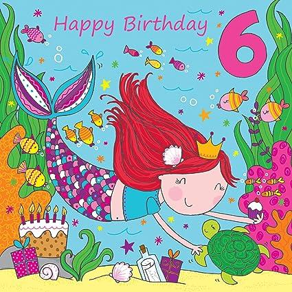 Twizler Tarjeta de felicitación de 6 cumpleaños para niña ...