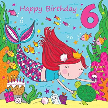 Twizler 6th Birthday Card For Girl With Cute Mermaid Glitter