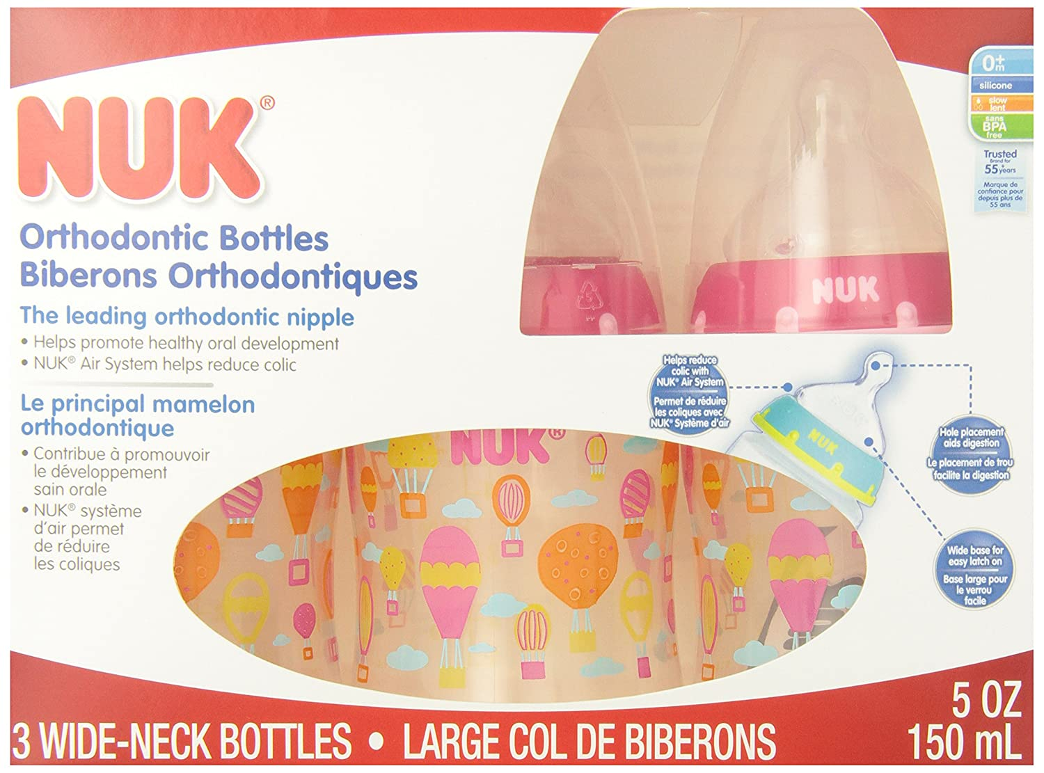 NUK Orthodontic Silicone BPA Free Nipple Bottle 3-Pack Colors May Vary 5-Ounce