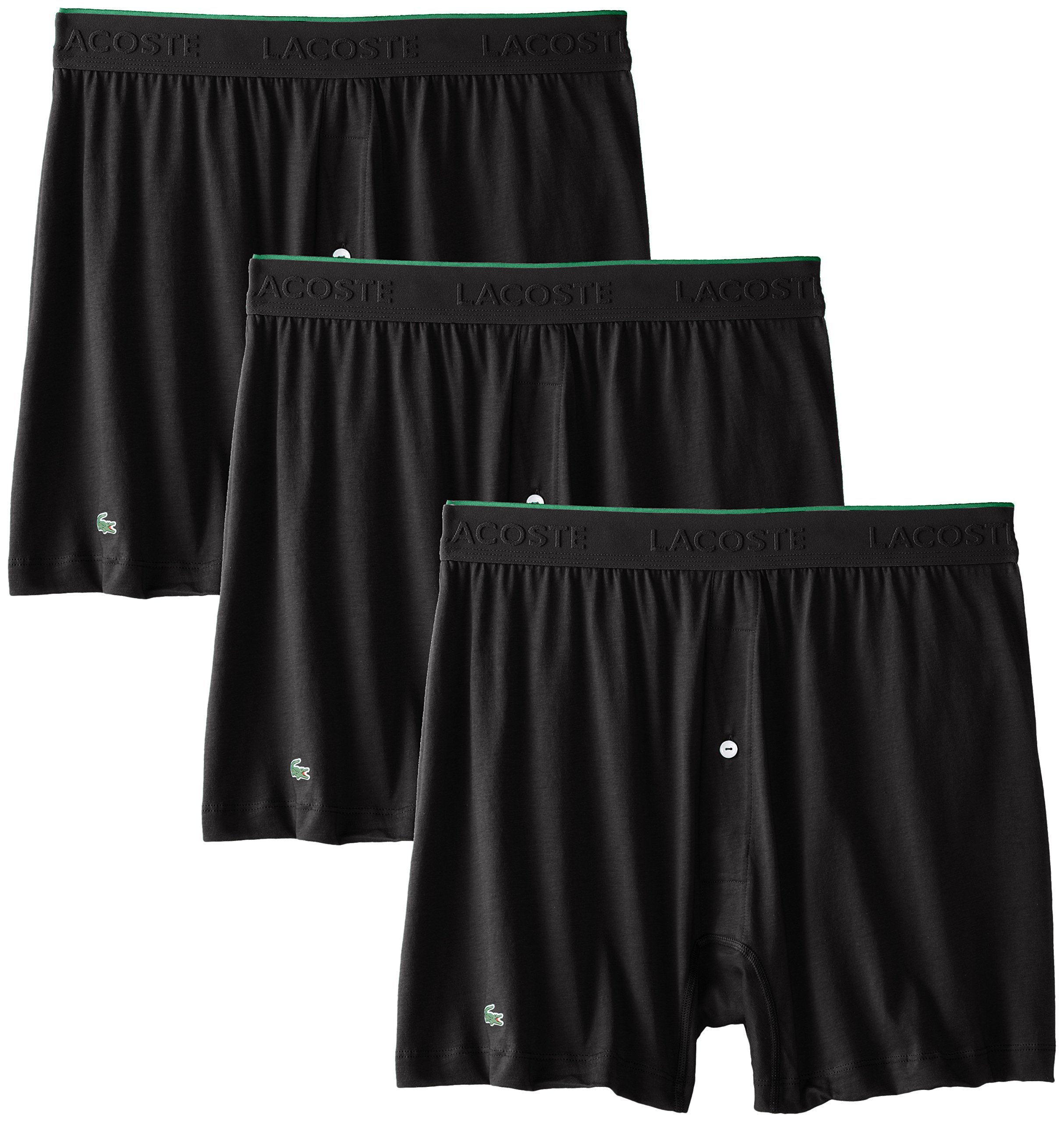 Lacoste Men's 3-Pack Essentials Cotton Knit Boxer, Black, Medium