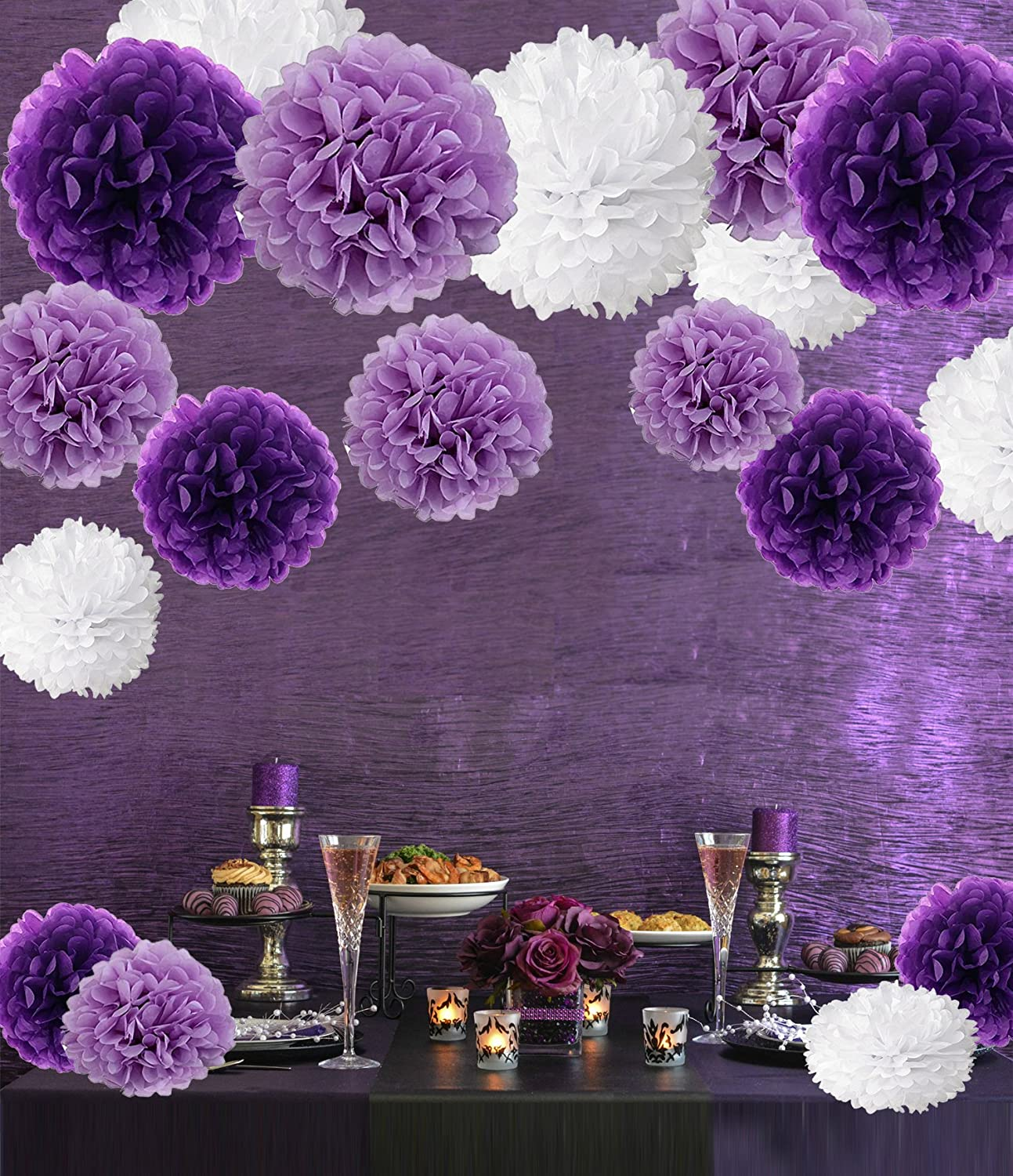 18 Pcs Tissue Paper Pom Poms Gold and Silver Black Recosis Paper Flower Ball for Birthday Party Wedding Baby Shower Bridal Shower Festival Decorations