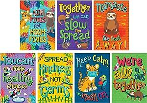 One World Social Distancing Classroom Posters, Carson Dellosa Classroom Decorations, 7 Pieces