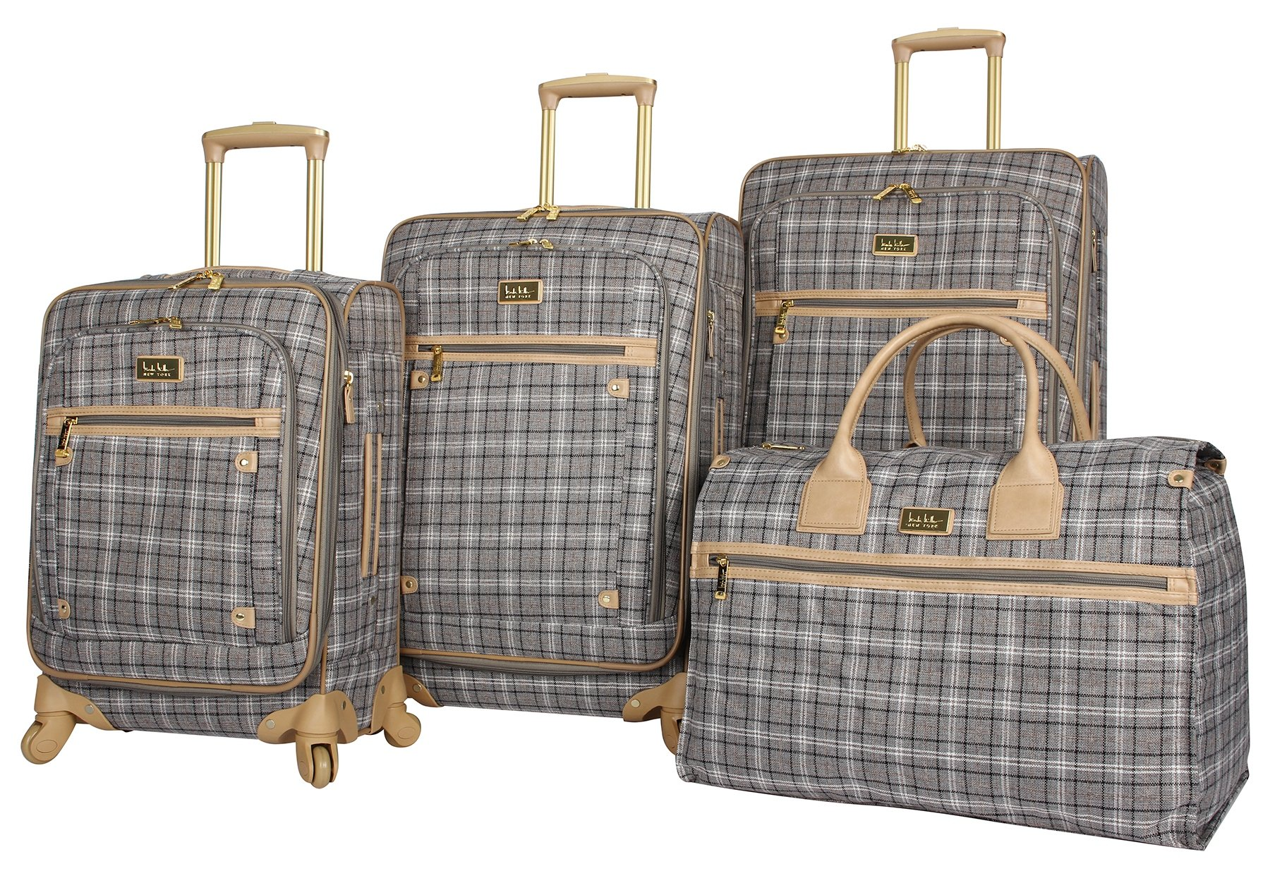 Nicole Miller New York Taylor Set of 4: Box Bag, 20'', 24'', 28'' Expandable Spinner Luggages (Gray Plaid)