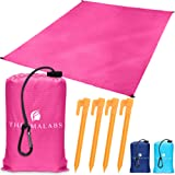 Thermalabs Ground Picnic Blanket for Beach & Park, Waterproof Sandless Pocket Mat, Compact Water Resistant Sheet for Travel, Hiking, Outdoor Camping, Seat Cover w/Stakes, Ziplock Bag & more! Pink