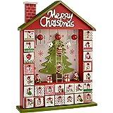 WeRChristmas Wooden House Advent Calendar Christmas Decoration, 37 cm - Red