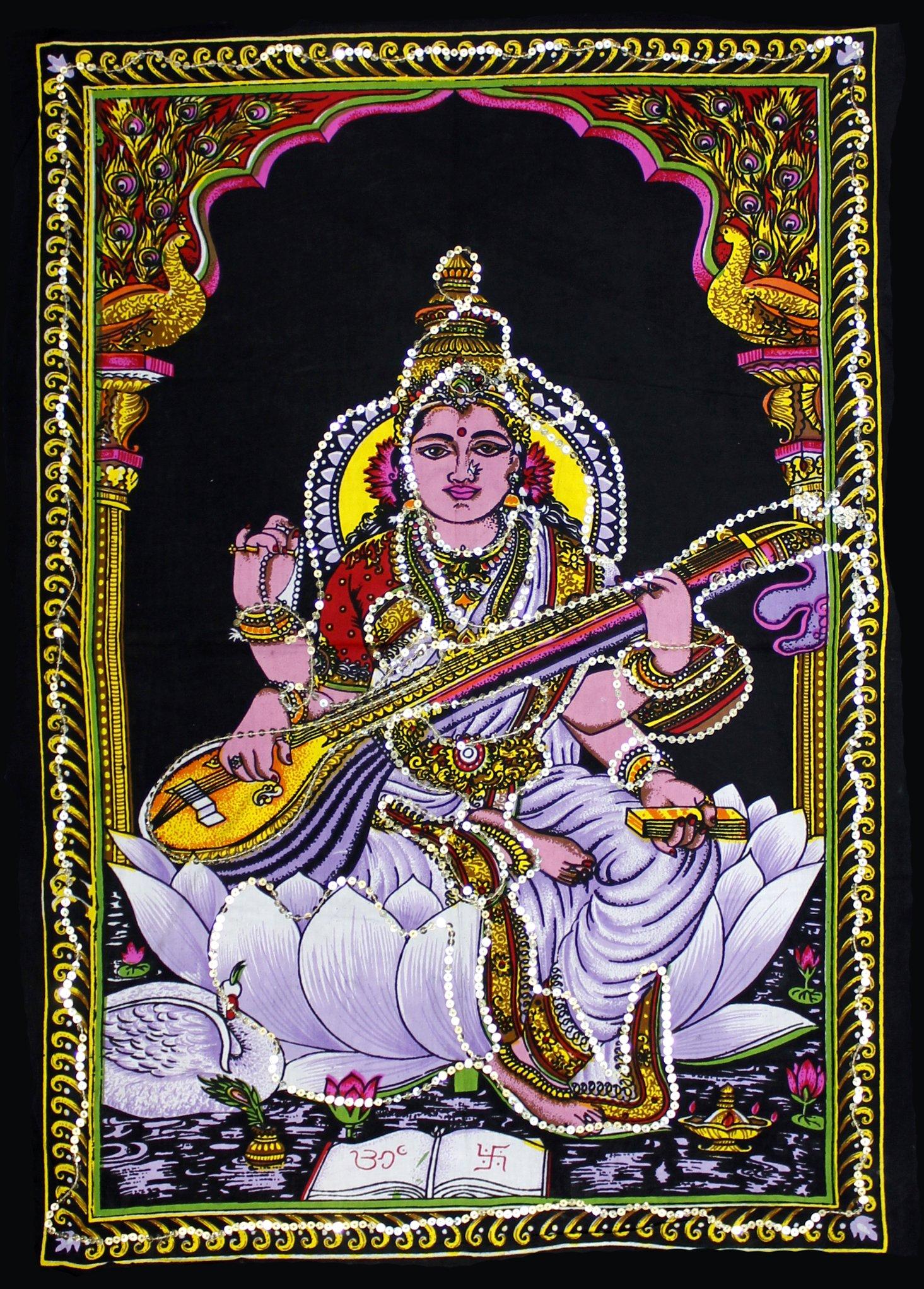 Krishna Mart India Cotton Canvas Sequin Batik Goddess Saraswati 22'' X 16'' Tapestry (Small)