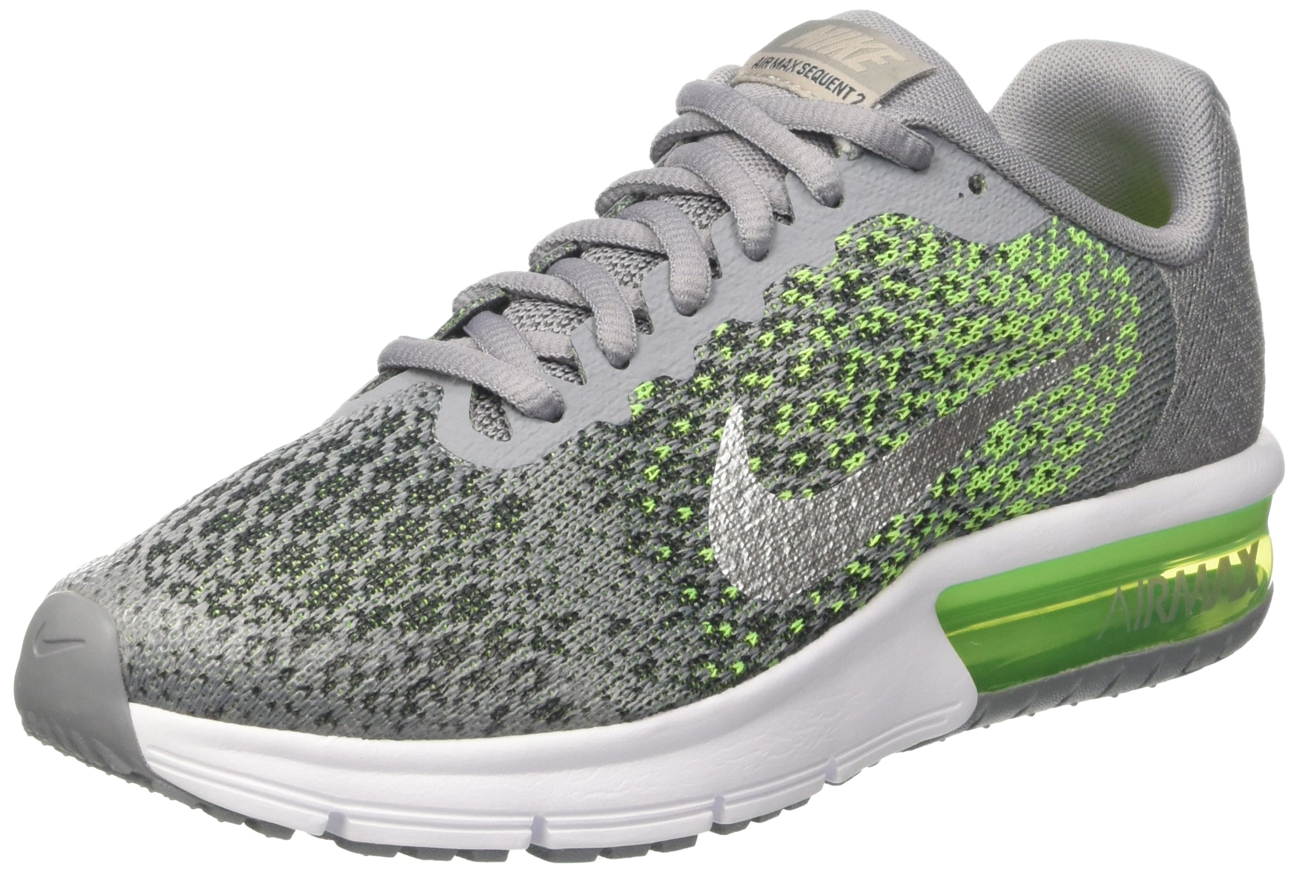 NIKE Boys' Air Max Sequent 2 Running Shoe (GS), StealthMetallic SilverElectric Green, 5 M US Big Kid