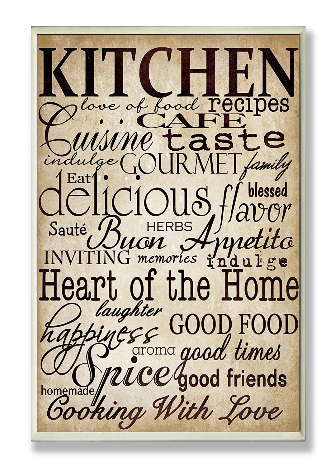 Amazon.com: Stupell Home Décor Words In The Kitchen Off White Wall Plaque,  10 X 0.5 X 15, Proudly Made In USA: Home U0026 Kitchen