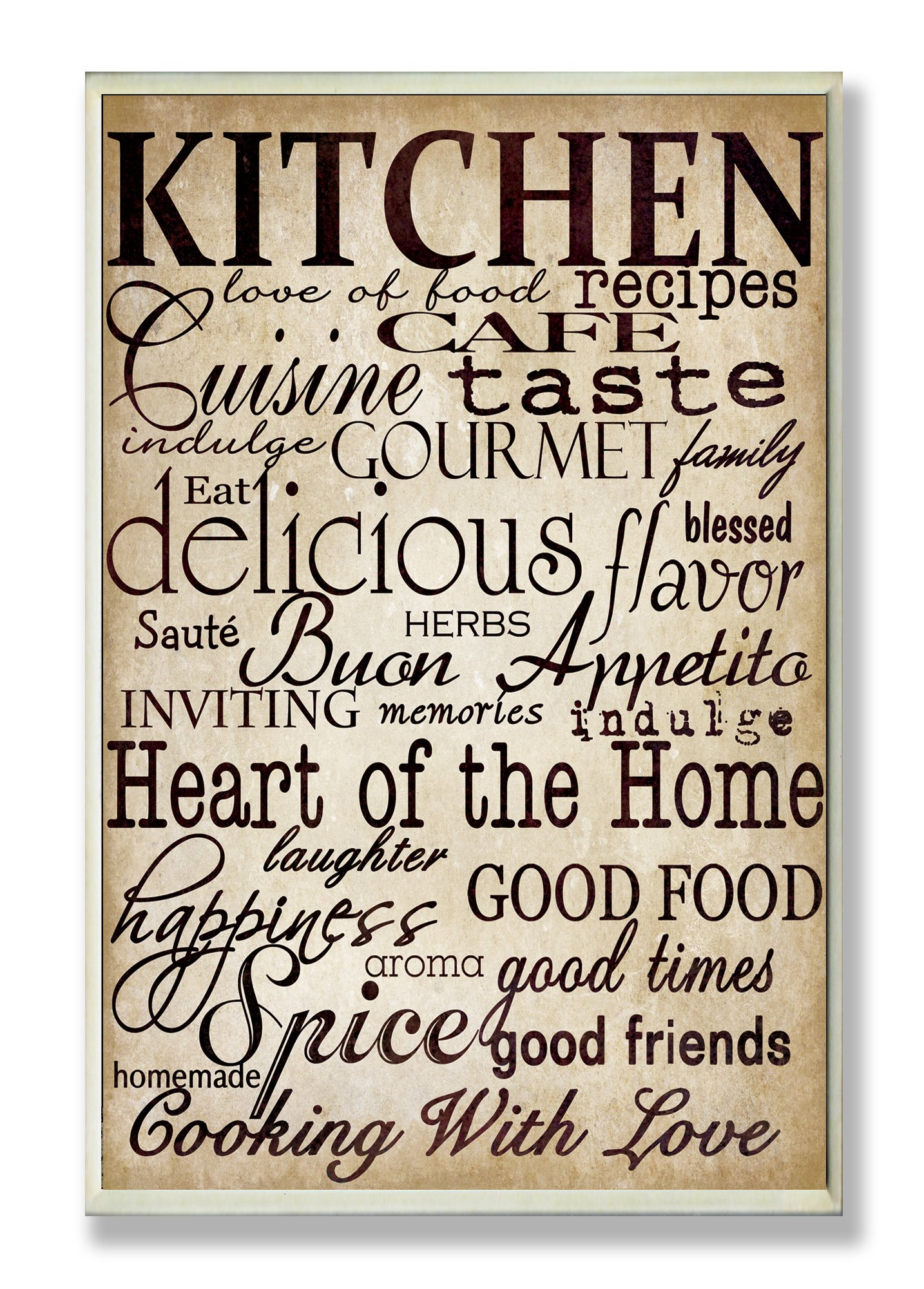 Stupell Home Décor Words In The Kitchen Off White Wall Plaque, 10 x 0.5 x 15, Proudly Made in USA