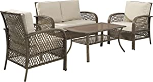Crosley Furniture KO70037DW-SA Tribeca 4-Piece Outdoor Wicker Seating Set (Loveseat,2 Arm Chairs,Coffee Table), Driftwood Grey