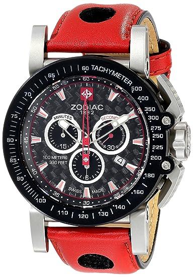 Zodiac ZMX hombre zo8568 Racer rojo de cuarzo analógica Swiss reloj