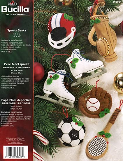Amazoncom Bucilla Sports Santa Felt Applique Ornament