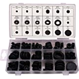 Ram-Pro 125 Piece Rubber Grommet Eyelet Ring Gasket Assortment, Set of 18 Different Sizes, with See-Through Divided…