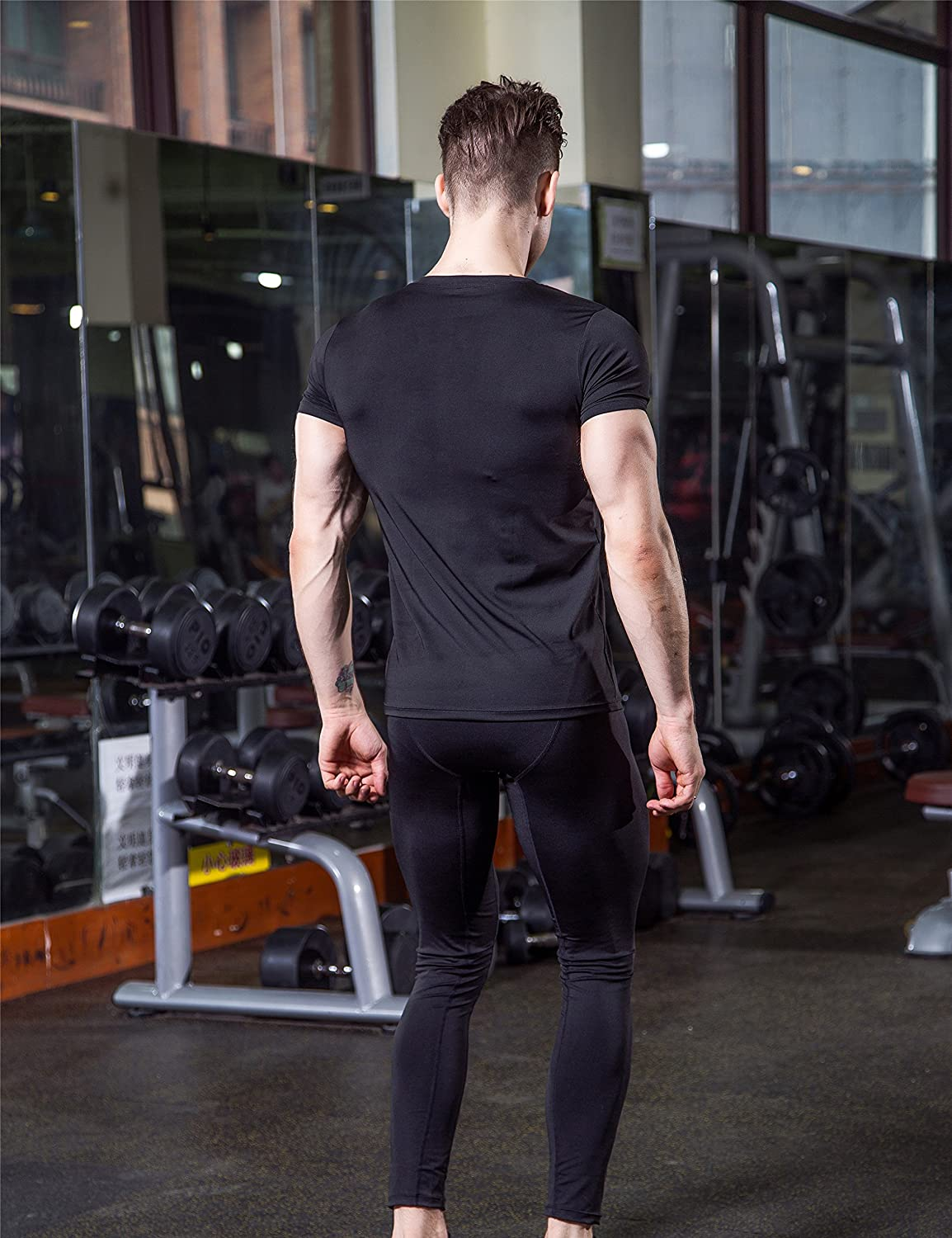 DZRZVD Mens Short Sleeve T-Shirts Baselayer Cool Dry Compression Athletic YEL4001
