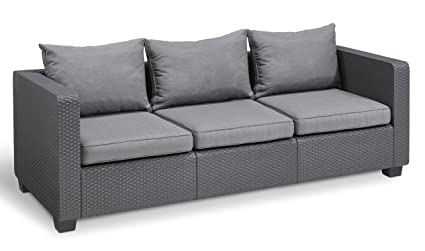 Elegant Keter Salta 3 Seater Seating Patio Sofa With Sunbrella Cushions In A Resin  Plastic Wicker